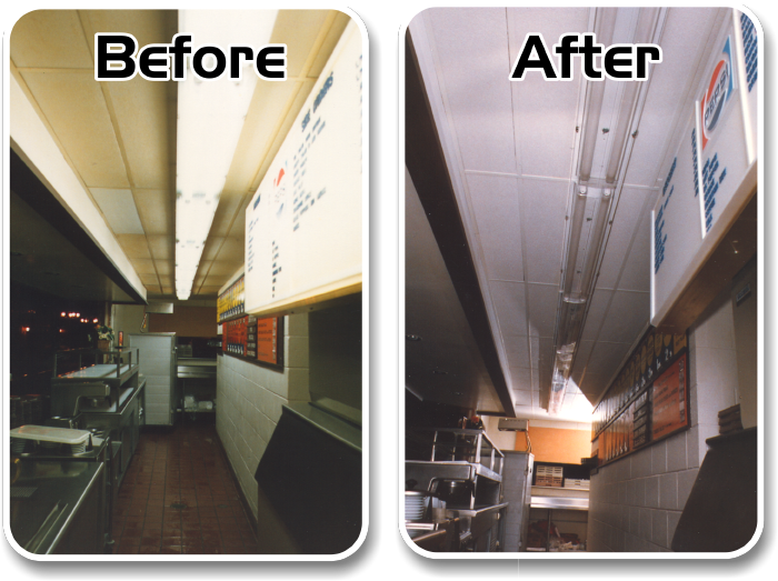 Ceiling Cleaning Before and After Before and After Cleaning of the  Acoustical Ceilings - Ceiling Cleaning And Open Structure Cleaning Services In Columbus
